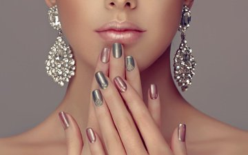 girl, lips, face, hands, manicure