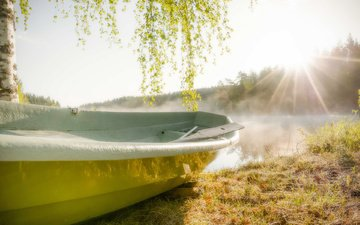 река, солнце, лодка
