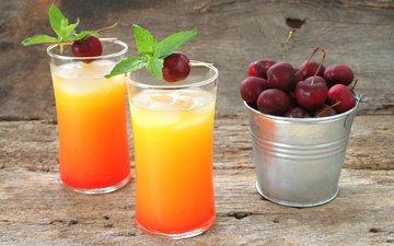 вишня, стаканы, боке, сок, ведерко, смузи