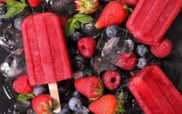 мороженое, ягоды, сорбет