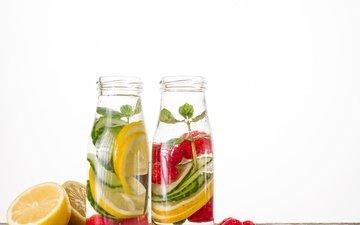 мята, напиток, фрукты, лимон, ягоды, лимонад, освежающие напитки