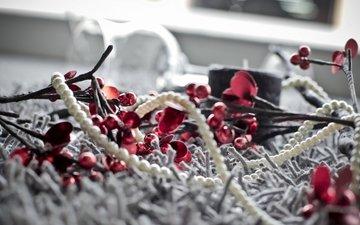 украшения, зима, бусы, праздник, рождество