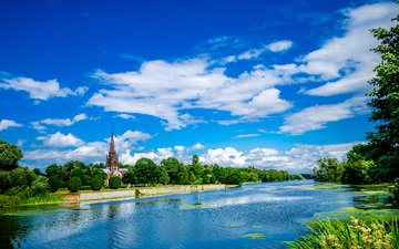 the sky, clouds, trees, lake, greens, uk, church, nottinghamshire, the church of the virgin mary, highfields park