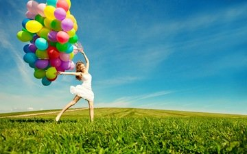 the sky, grass, clouds, girl, mood, field, balloons