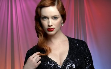 girl, look, hair, face, actress, black dress, red lips, neckline, redhead, christina hendricks