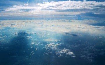 небо, облака, солнце, лучи