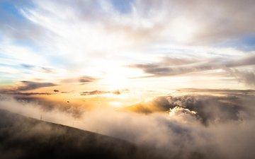 clouds, the sun, nature, morning, fog, horizon, mountain