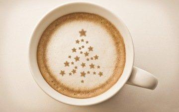 елка, напиток, звезды, кофе, чашка, капучино, пенка