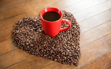 coffee, heart, cup, coffee beans, wooden surface
