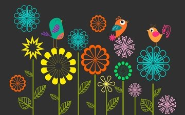 цветы, вектор, птицы, весна, черный фон
