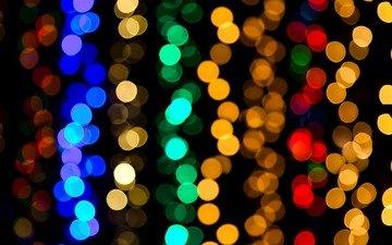 lights, glare, black background, blur