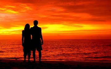 the sky, clouds, sunset, girl, sea, beach, guy, silhouettes, love, romance, pair