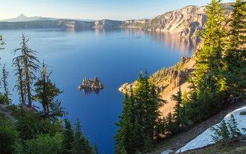 деревья, озеро, скалы, остров, орегон, crater lake national park, кратерное озеро