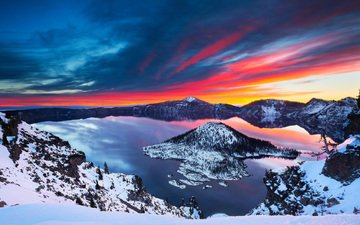 clouds, lake, mountains, sunrise, snow, winter, landscape, crater lake national park, crater lake