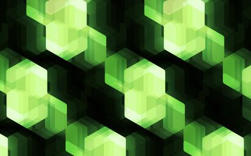 свет, абстракция, цвет, форма, кубики, зеленые, куб, геометрия, кристаллы