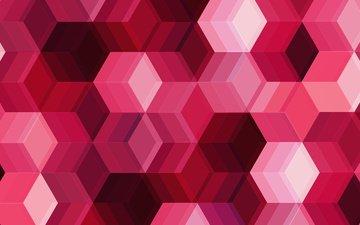 абстракция, цвет, форма, кубики, розовые, геометрия