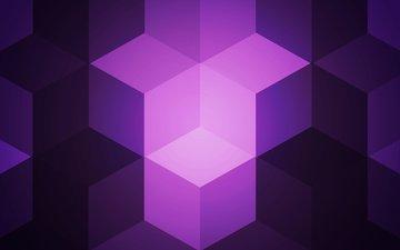 абстракция, цвет, форма, кубики, куб, геометрия, фиолетовые
