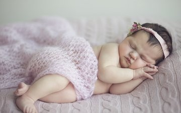 sleep, children, girl, face, child, headband, baby