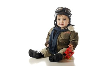 pilot, children, toy, white background, child, boy, airplane