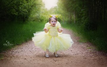 dress, look, children, path, girl, hair, face, child