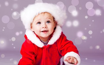 snow, new year, smile, portrait, children, child, hat, boy, costume, christmas, santa