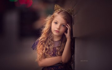 dress, look, children, girl, hair, ears, face, child