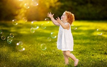 dress, smile, children, girl, meadow, the game, child, bubbles