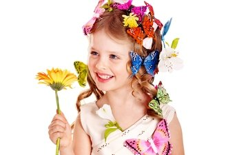 flowers, smile, look, children, girl, hair, face, child, butterfly