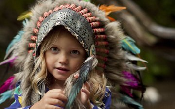 girl, look, children, hair, face, feathers, child, costume, headdress