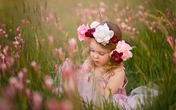 flowers, grass, children, girl, meadow, child, wreath