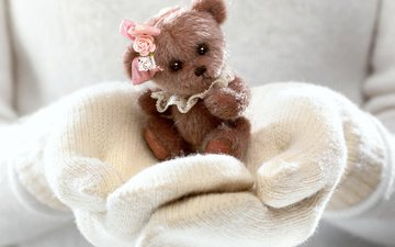 winter, girl, bear, toy, hands, mittens, teddy bear