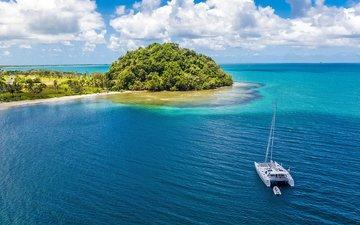 море, яхта, остров, тропики