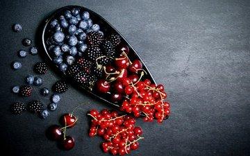 ягоды, вишня, черника, ежевика, смородина