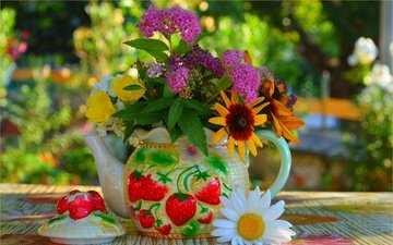 flowers, daisy, blur, bouquet, kettle, still life, rudbeckia