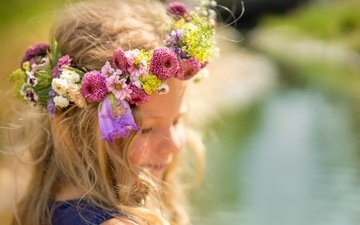 flowers, look, girl, hair, face, wreath, closed eyes
