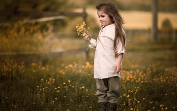 flowers, nature, mood, summer, children, girl, meadow, hair, child, childhood, a bunch, is