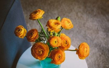 flowers, bouquet, ranunculus, buttercup