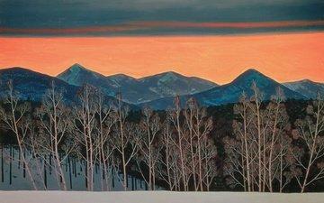 деревья, вечер, горы, природа, лес, закат, картина, пейзаж, асгард, рокуэлл кент, rockwell kent