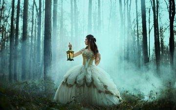 деревья, лес, девушка, платье, туман, фонарь, сказка, bella kotak