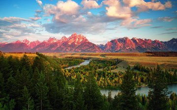 trees, river, mountains, forest, usa, wyoming, national park grand teton