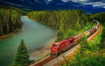 trees, river, mountains, railroad, forest, summer, train, canada, albert, banff, banff national park