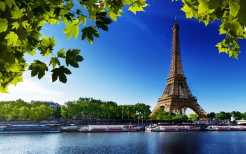 the sky, trees, river, leaves, ships, paris, france, eiffel tower
