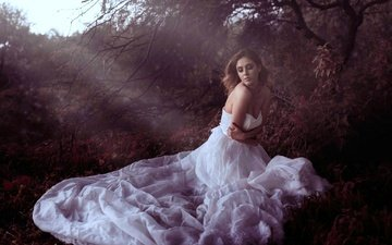 дерево, девушка, платье, ситуация, волосы, лицо, макияж, холодно, закрытые глаза