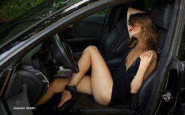 девушка, авто, модель, ножки, каблуки, туфли, ауди, черное платье, длинные волосы, салон, guenter stoehr, вита гончарук