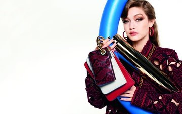 girl, look, model, hair, face, jacket, white background, makeup, bag, gigi hadid