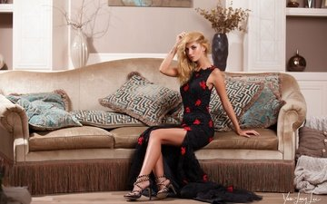 girl, interior, pillow, dress, blonde, room, legs, makeup, hairstyle, figure, shoes, posing, on the couch, sitting