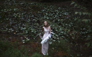 природа, растения, девушка, взгляд, крылья, модель, лицо, белое платье, aleah michele, swan lake