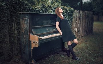 girl, the fence, piano, black dress, reverie, knee, closed eyes, bessarion chakhvadze, burn