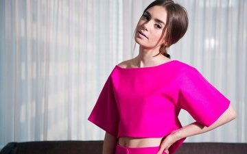 girl, pose, look, model, face, actress, makeup, lily collins