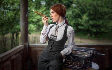 girl, profile, cigarette, mouthpiece, typewriter, bessarion chakhvadze